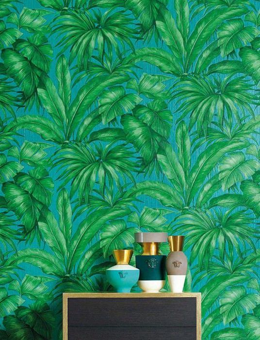 Papel De Parede Yasmin Turquesa Versace Wallpaper Tree Wallpaper Palm Trees Wallpaper
