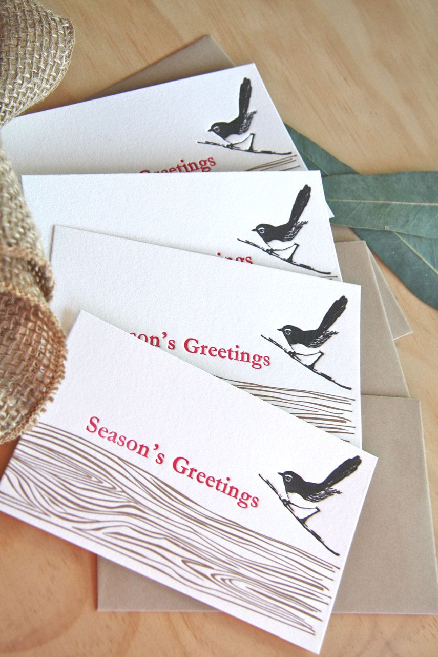 Letterpress willie wagtail wren bird seasons greetings with letterpress willie wagtail wren bird seasons greetings with faux bois wood grain detail notelets kristyandbryce Gallery
