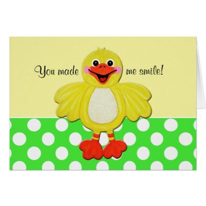 Cute White Polka Dot Ducky Thank You Note Card  Baby Gifts Child