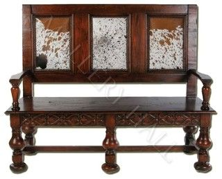 """Custom-made real wood and leather settee Width: 60"""", Depth: 24"""", Ht: 48"""""""