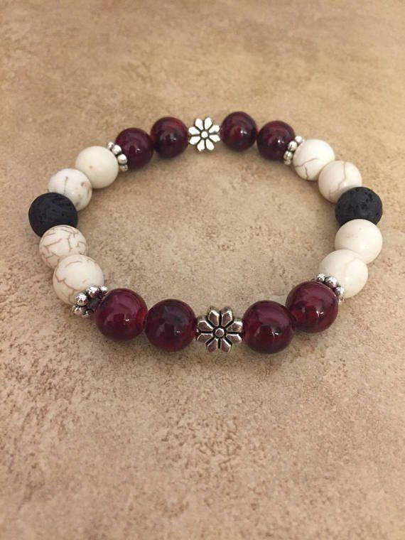 588b59bb00dd Huile essentielle diffuseur Bracelet  Rouge et blanc Pulseras Tejidas