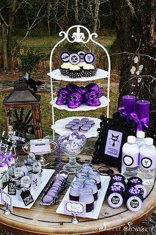 Purple  Black Halloween Party #burtonandburton #frightfullyfun - sweet 16 halloween party ideas