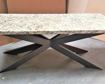 Modern Granite Coffee Table With Chic Tubing Legs Granite Coffee