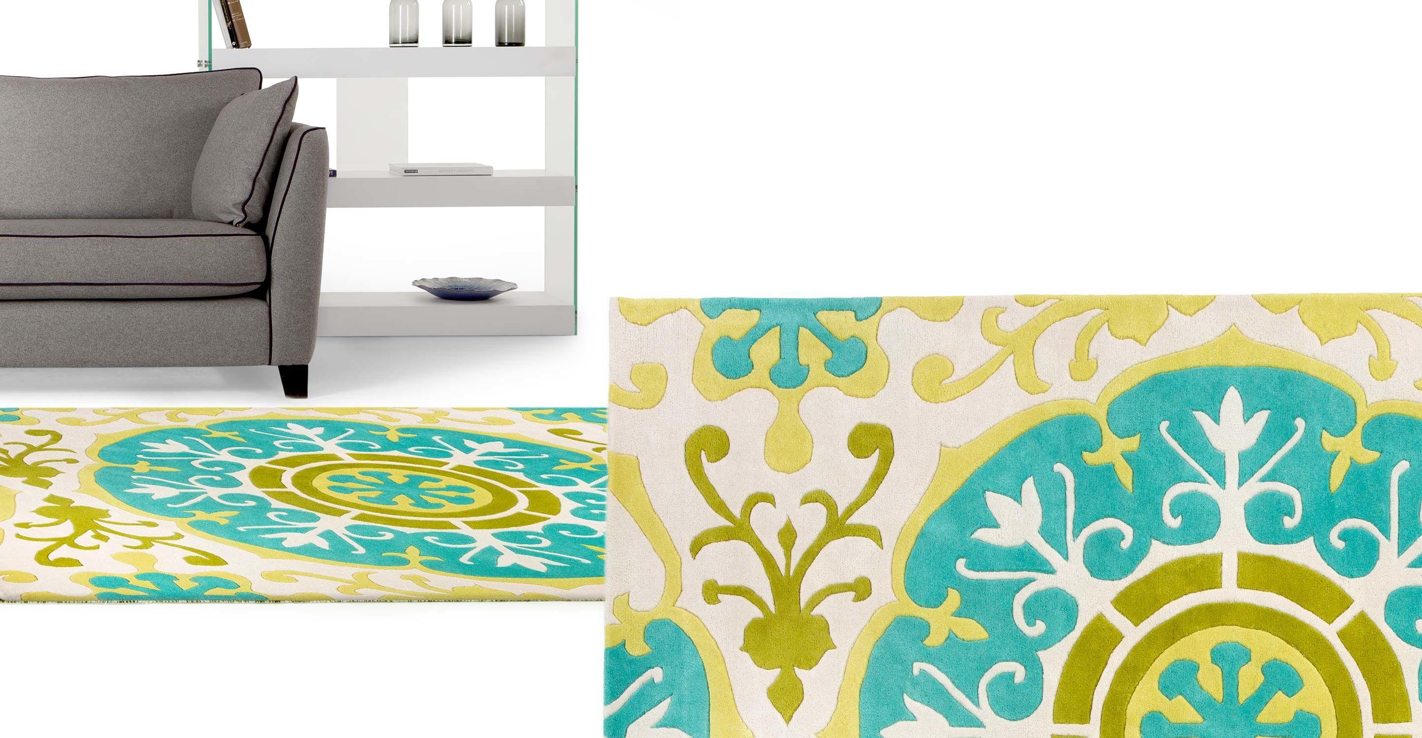 moroc teppich 170 x 240 cm t rkis und gelb einrichten t rkis zuhause und gelb. Black Bedroom Furniture Sets. Home Design Ideas