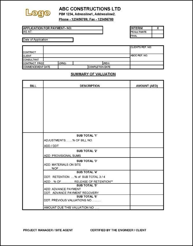 Interim Payment Certificate Sample Certificate templates