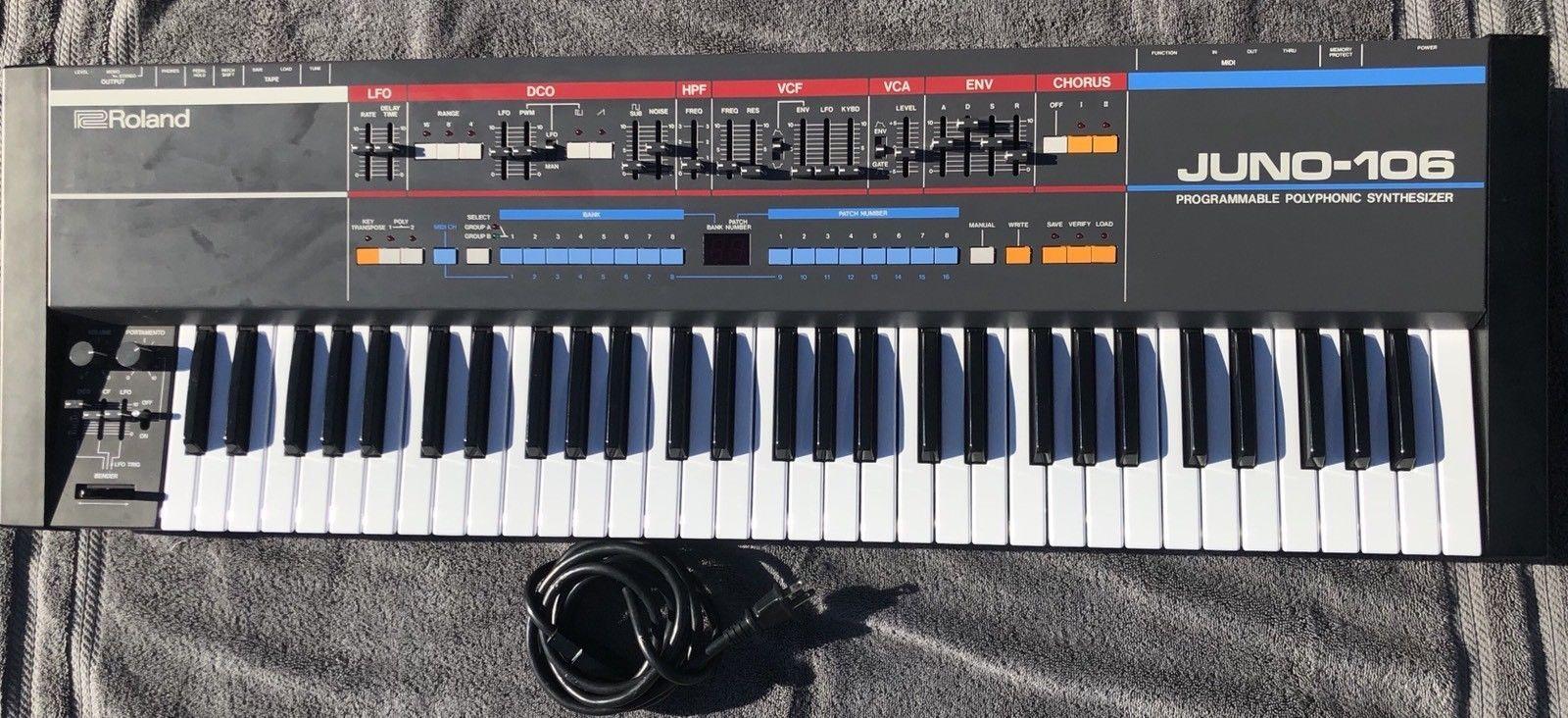 Roland Juno106 Juno 106 Vintage Analog Synth Keyboard 61 Key