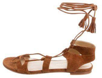 b2bd1a216d41 Stuart Weitzman Suede Lace-Tie Sandals