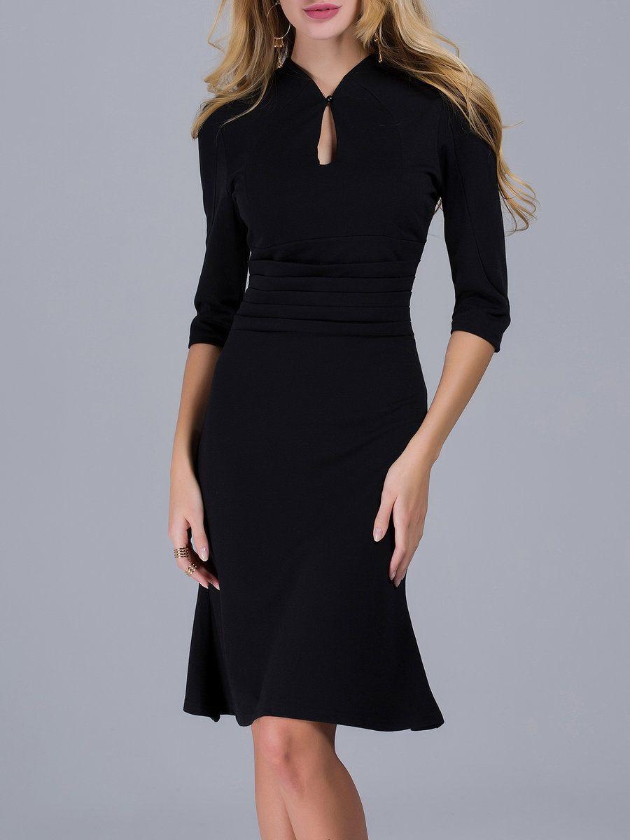 Shop Midi Dresses - Black Flounce Solid Elegant Keyhole Midi Dress online. Discover unique designers fashion at StyleWe.com.