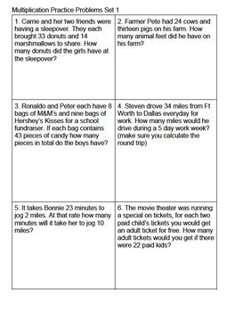 Multiplication Story/Word Practice Task Cards Set 1 Grade ...