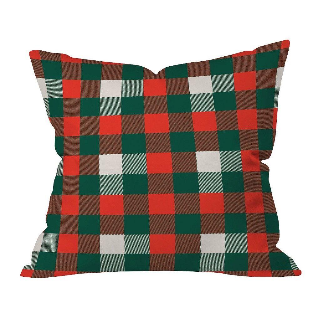 "Red Plaid Zoe Wodarz Christmas Plaid Throw Pillow (16""x16"