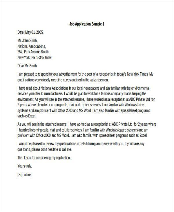 Sample Job Application Letter For Receptionist Free Amp Premium