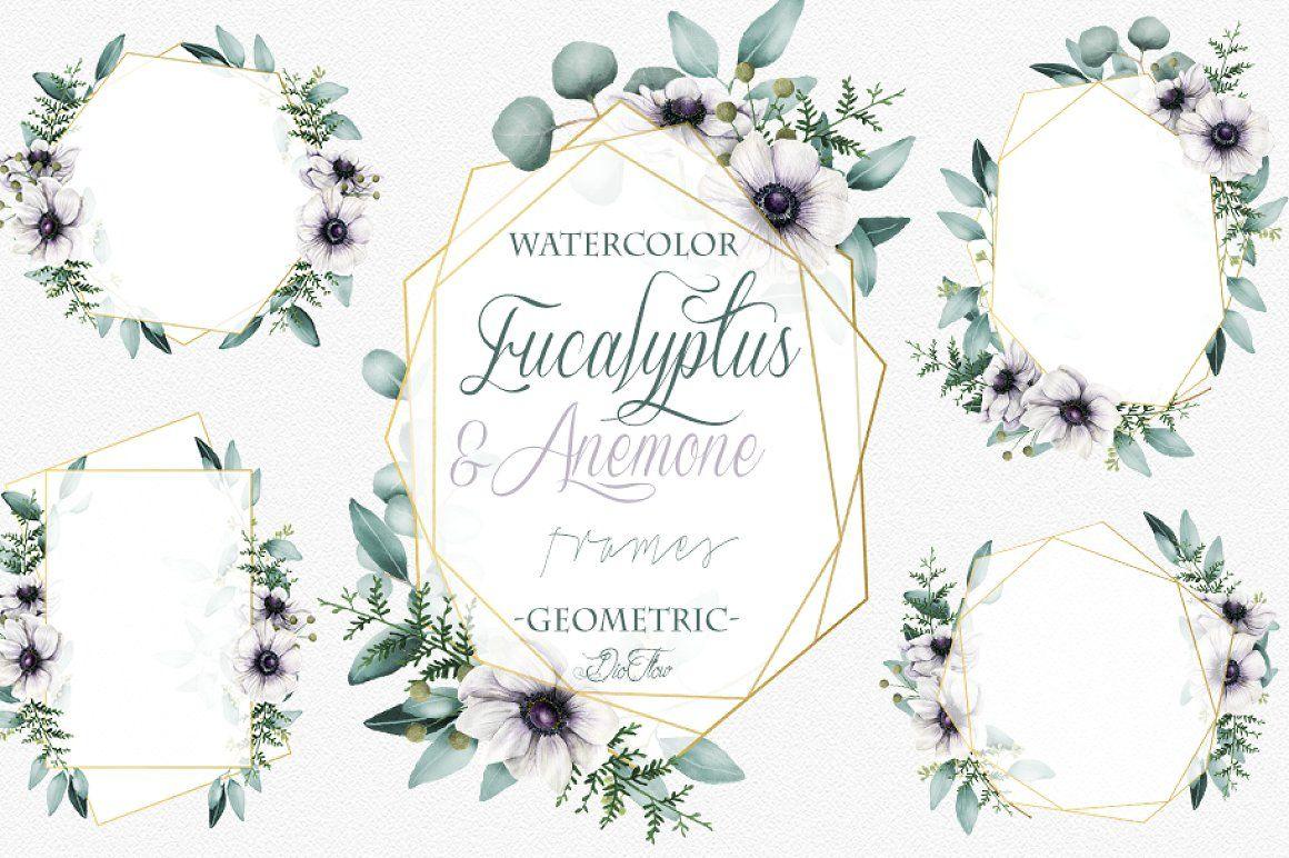 Eucalyptus Anemone Frames Clip Art eucalyptus anemone leaves frames ...