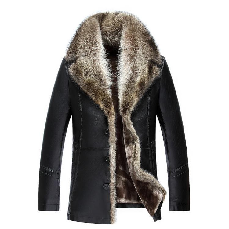 2019 Mens Genuine Leather Jackets Real Raccoon Fur Coats Shearling Winter Parkas Snow Clothes Warm Mantel Mit Fellkragen Mantel Mit Pelzkragen Mantel Mit Pelz