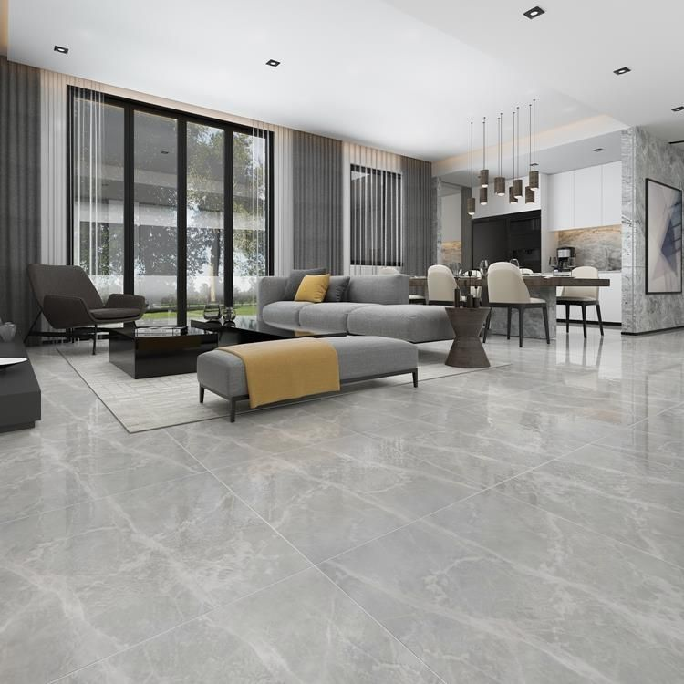Grey 600 X 600mm Polished Ceramic Floor Tile Living Room Tiles Grey Floor Tiles Living Room Grey Tiles Living Room