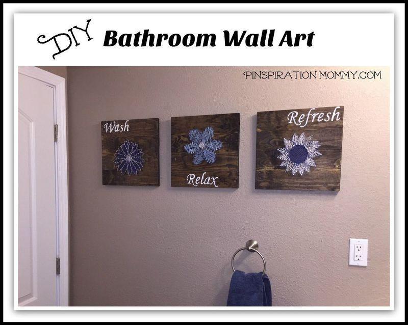 diy bathroom wall art string art to add a pop of color , bathroom ...
