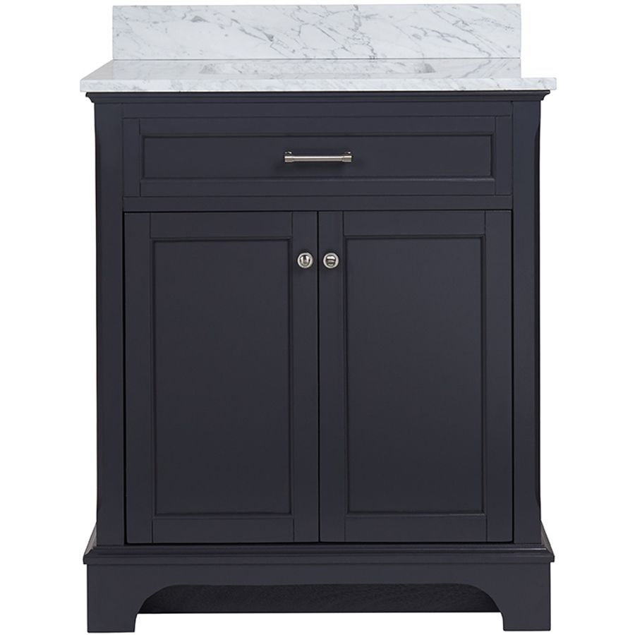 Web Image Gallery allen roth Roveland Gray Undermount Single Sink Birch Bathroom Vanity with Natural Marble Top