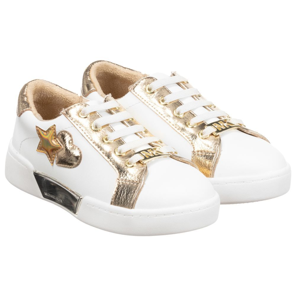 gold leather trainers from Michael Kors