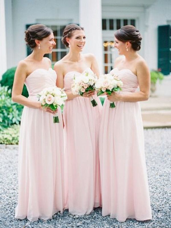 Light Pink Bridesmaid Dress Long Chiffon Sweetheart Dresses