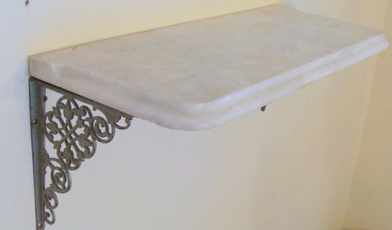 Victorian White Beveled Marble Shelf W Ornate Cast Iron Brackets 24 X 10