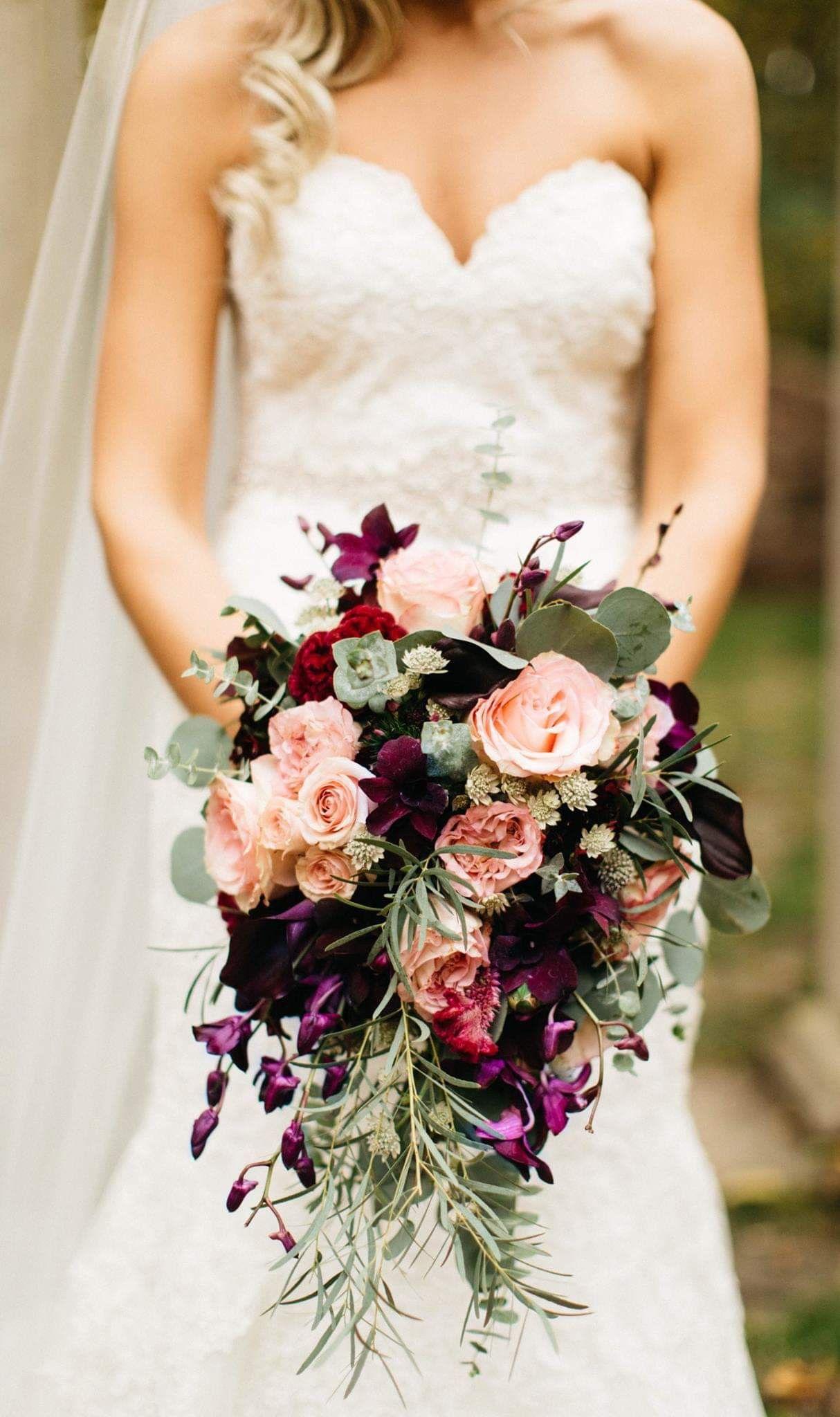 Blush and Burgundy Cascade bouquet for a fall wedding