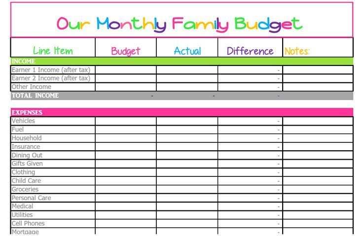 Free Monthly Budget Template  Cute Design In Excel  Household
