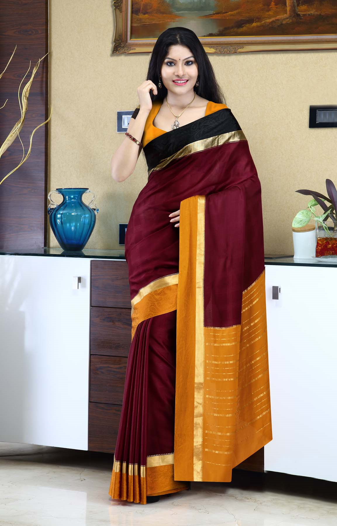 613423c1e6 Maroon mysore silk saree with a paisley pattern on double-colored border -  RmKV Silks