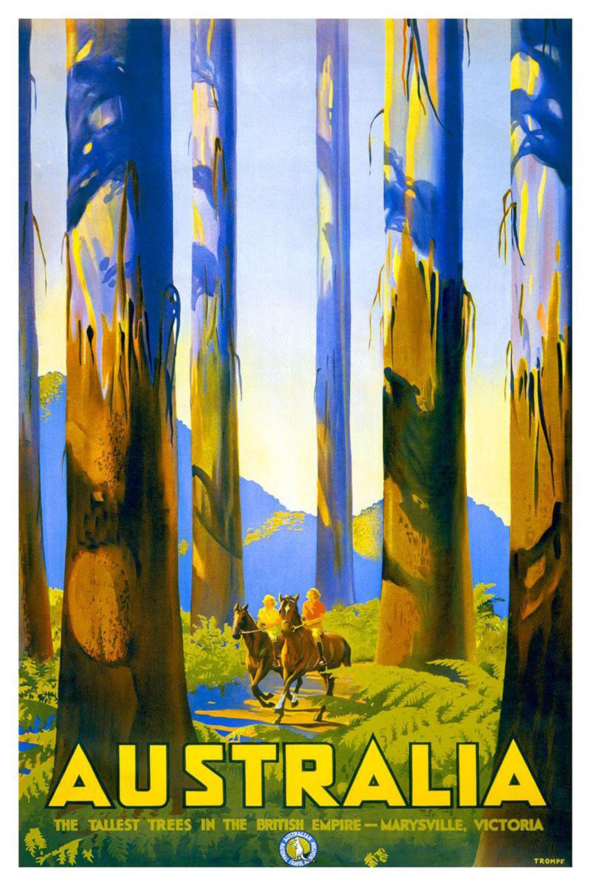 Australian Travel Poster The Tallest Trees In The British Empire 1930 Vintage Travel Posters Retro Travel Poster Posters Australia