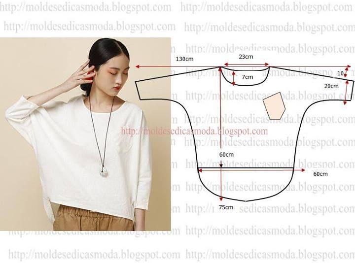 DIY Easy Loose Top - FREE Sewing Pattern Draft | Pattern for top ...