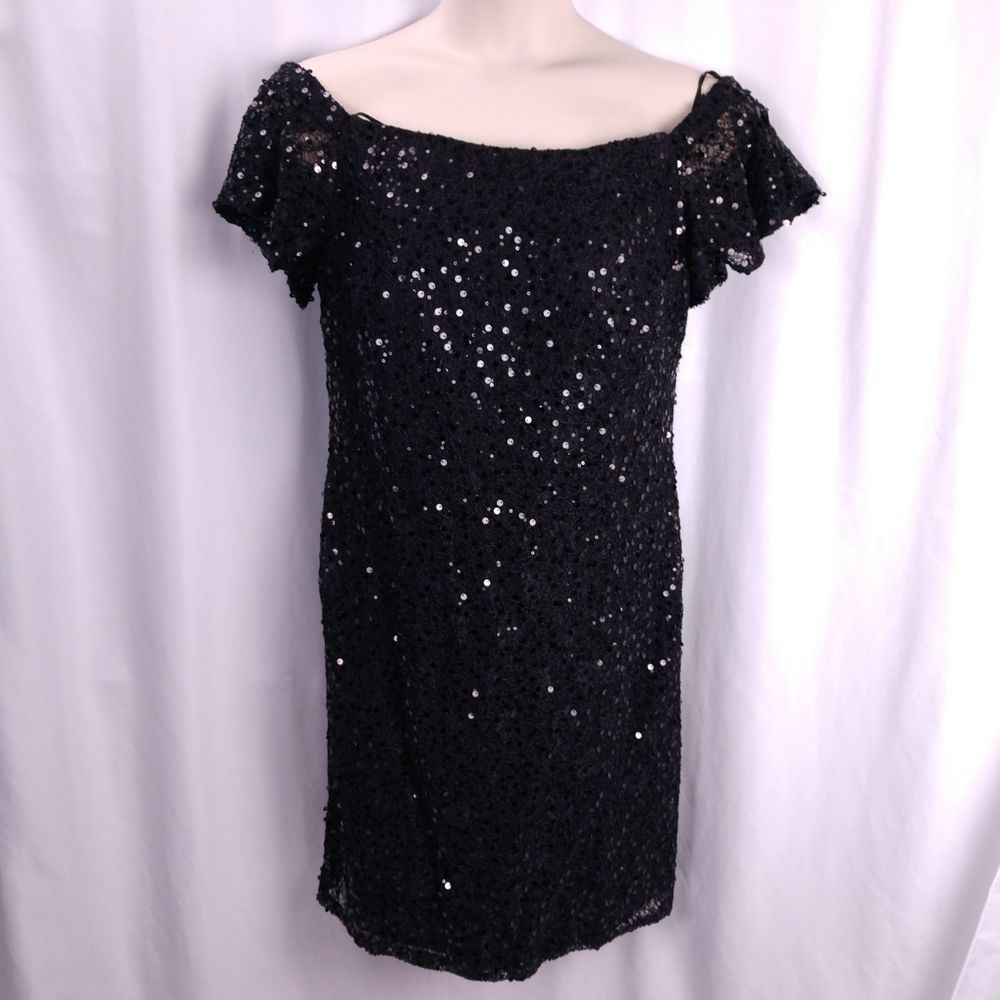 7b375257e17 Ashley Stewart Off the Shoulder Sequin Dress Size 16W Black Sold Out Online   AshleyStewart
