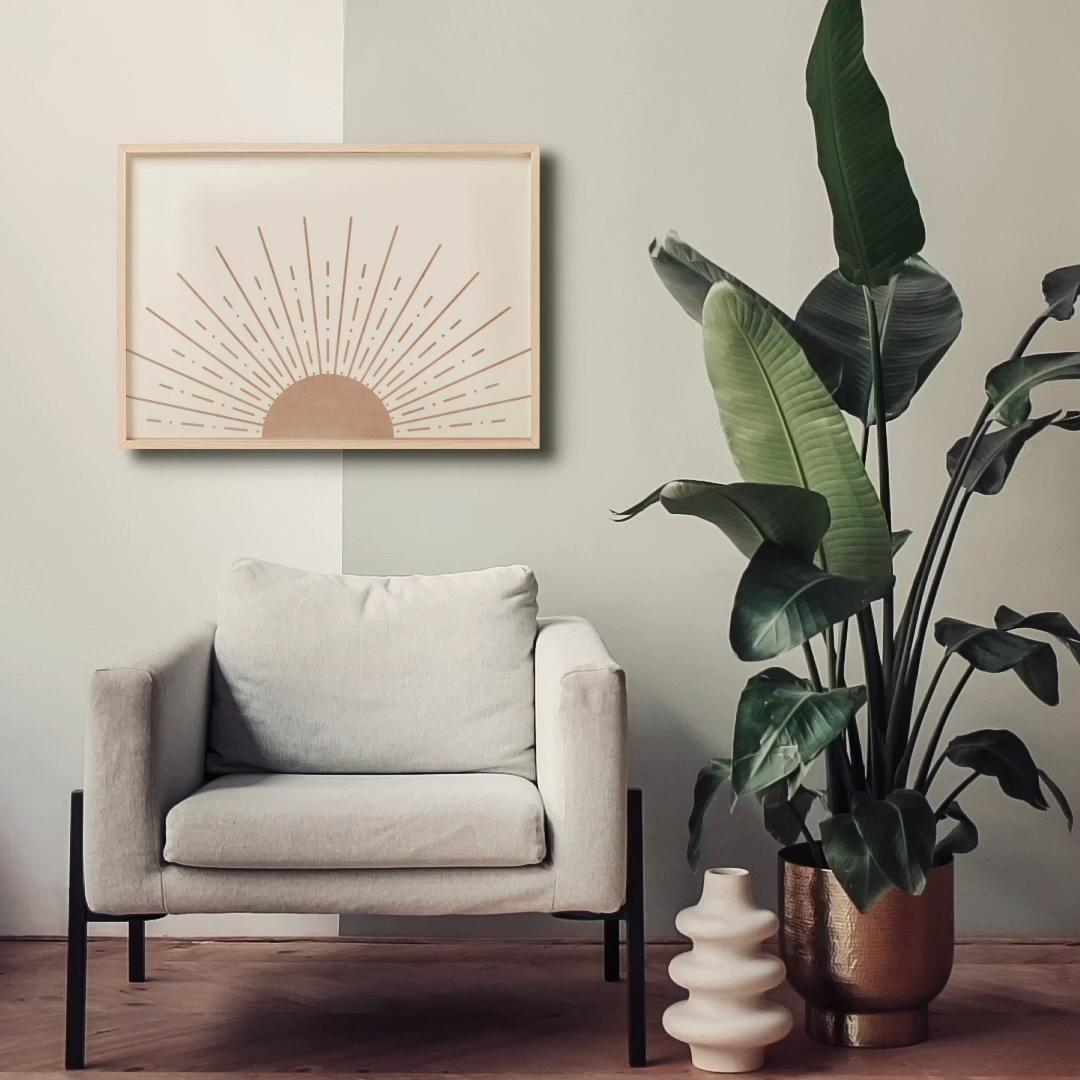 Photo of Mid Century Modern Printable Art Wall Decor, Abstract Sun Art Print Boho Decor