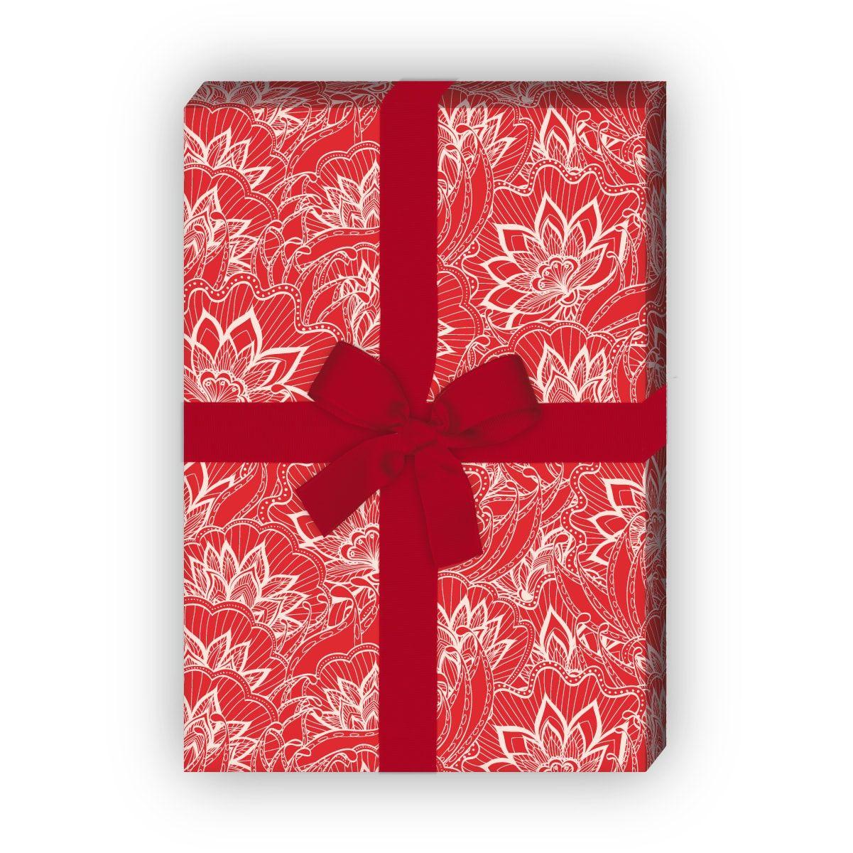 Klassisches Retro Geschenkpapier Set rot f/ür tolle Geschenk Verpackung und /Überraschungen 32 x 48cm mit grafischem Vintage Muster 4 Bogen