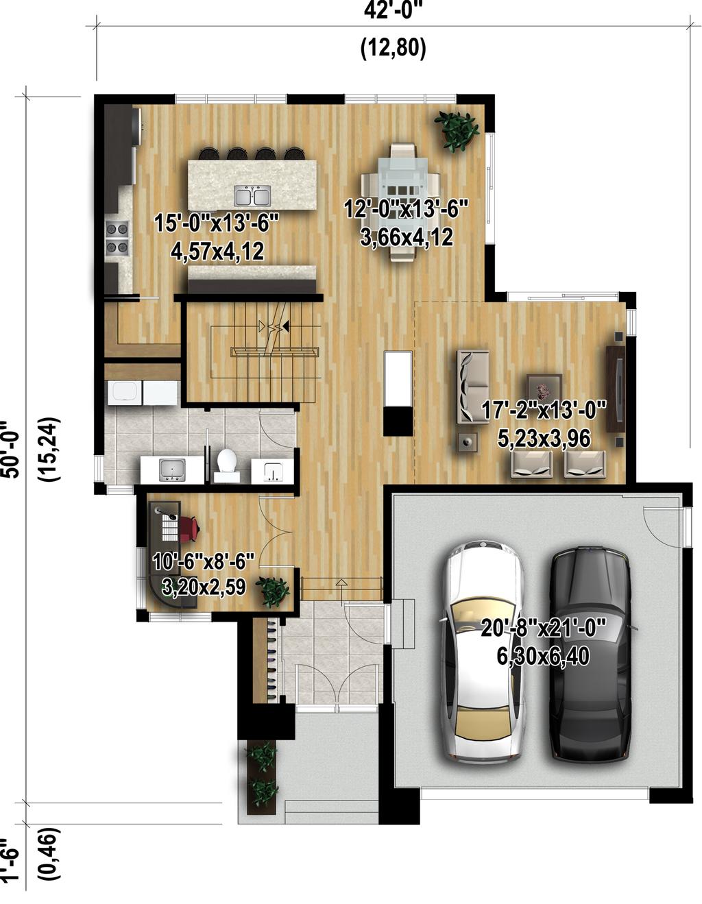 Modern Style House Plan   3 Beds 2.5 Baths 2370 Sq/Ft Plan #25