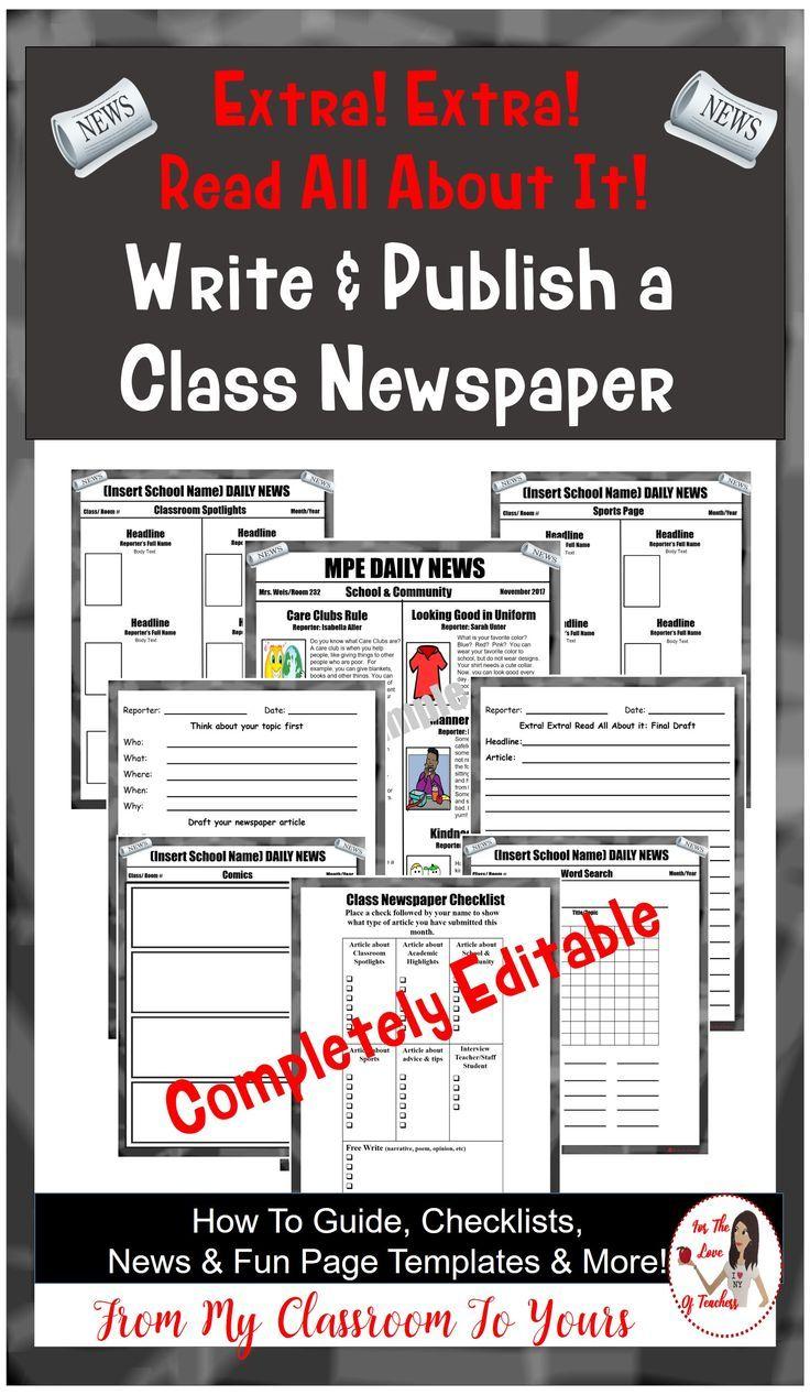 Class Newspaper *Editable in 2018   Writing   Pinterest   Newspaper ...