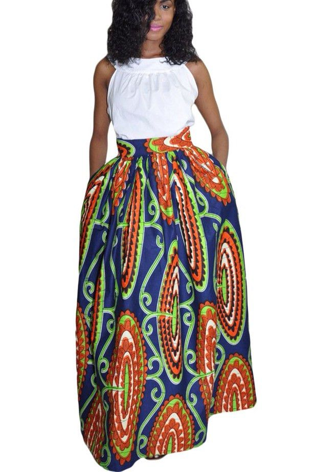 best online 50% off various styles Jupe Longue en Pagne Africain Taille Haute Resume Impression ...