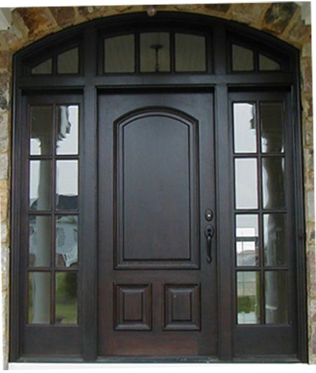 Custom Wood Arched Entry Way Door With Sidelights