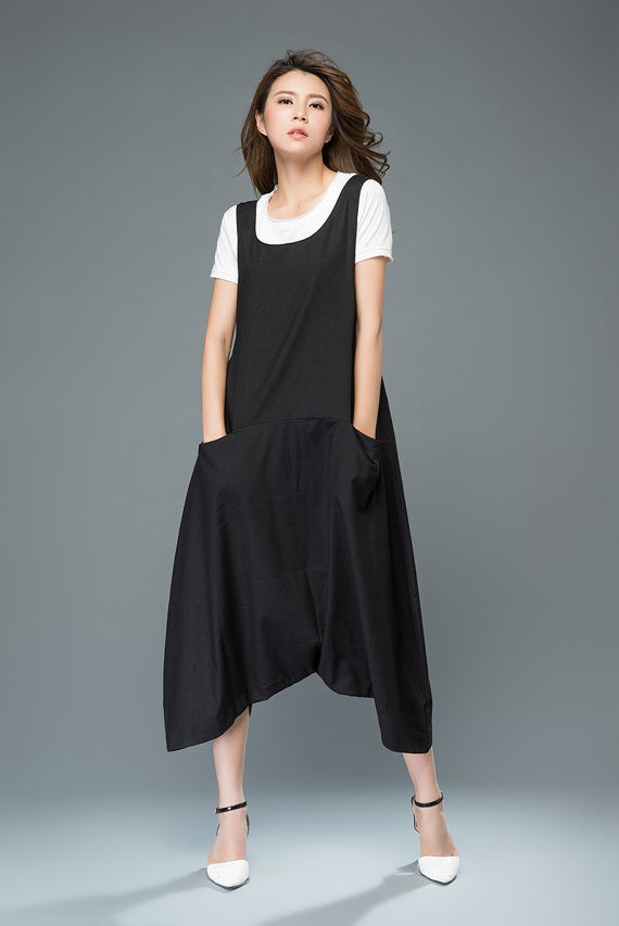 9cb7a841515f Black Linen Dungarees Harem Style Baggy Pants by YL1dress on Etsy