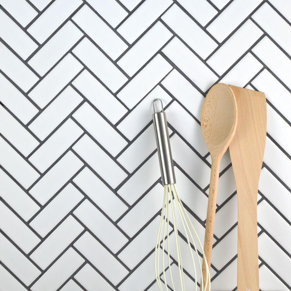 White Matt Herringbone Mosaic Tiles   Walls and Floors
