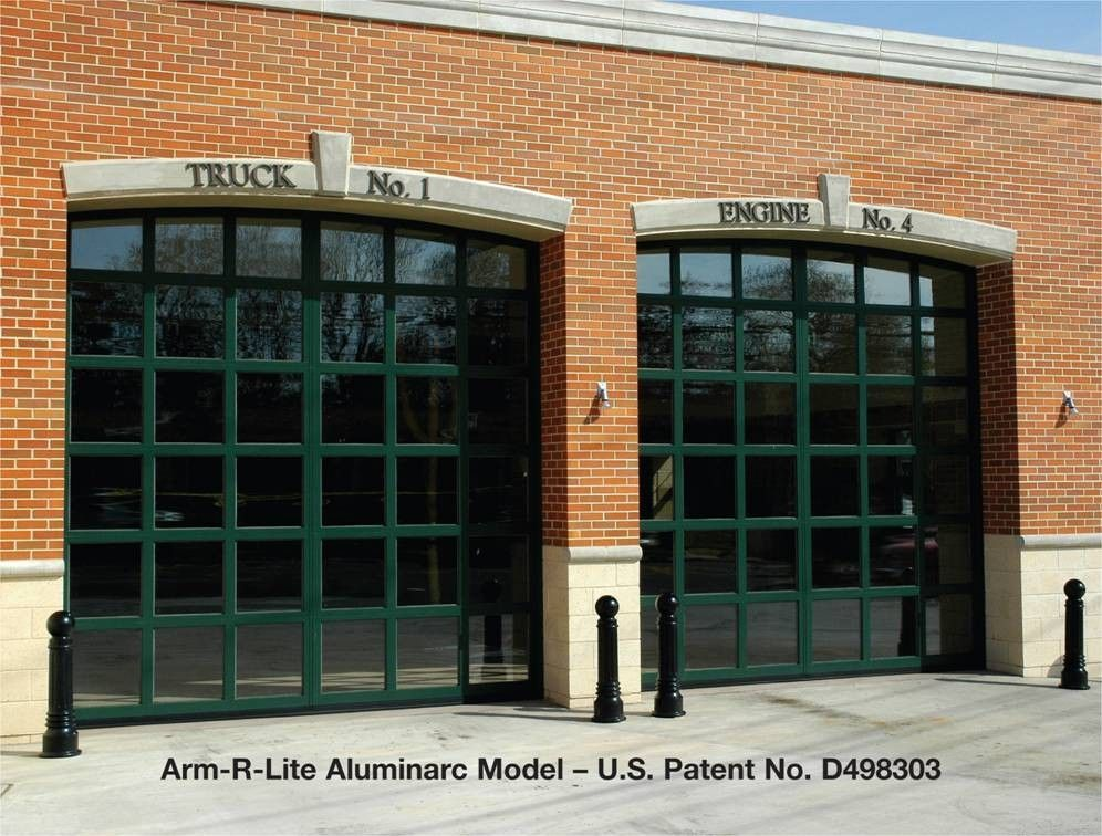 Edison Fire Department Aluminarc Model Glass Garage Doors By Arm R Lite  With Arched Top Section And Custom Finish