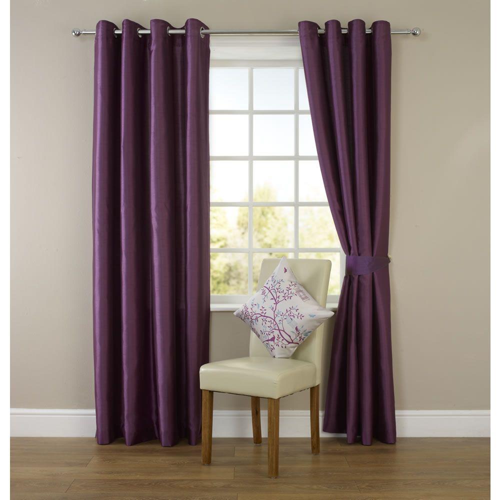 Faux Silk Eyelet Curtains Plum 228 X 228cm Purple Has