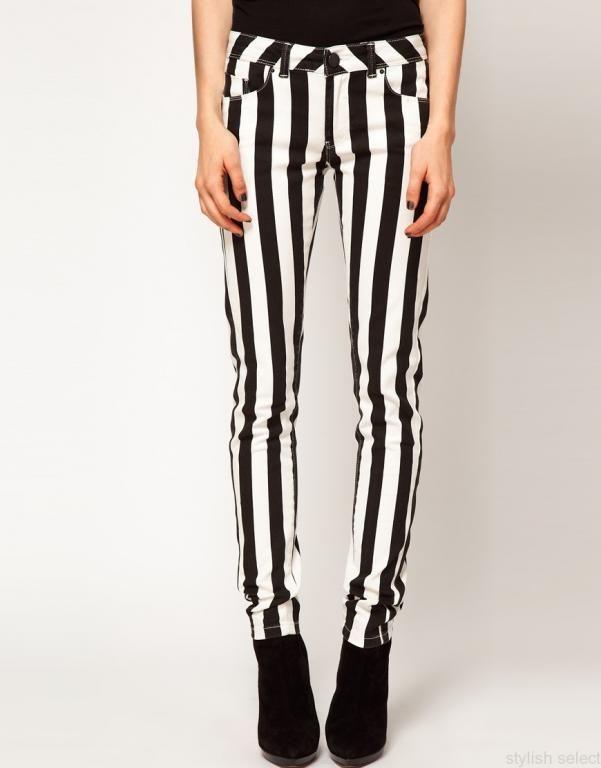 Spodnie Asos Jeans Paski 38 M Striped Jeans Skinny Denim Pants Skinny Jeans
