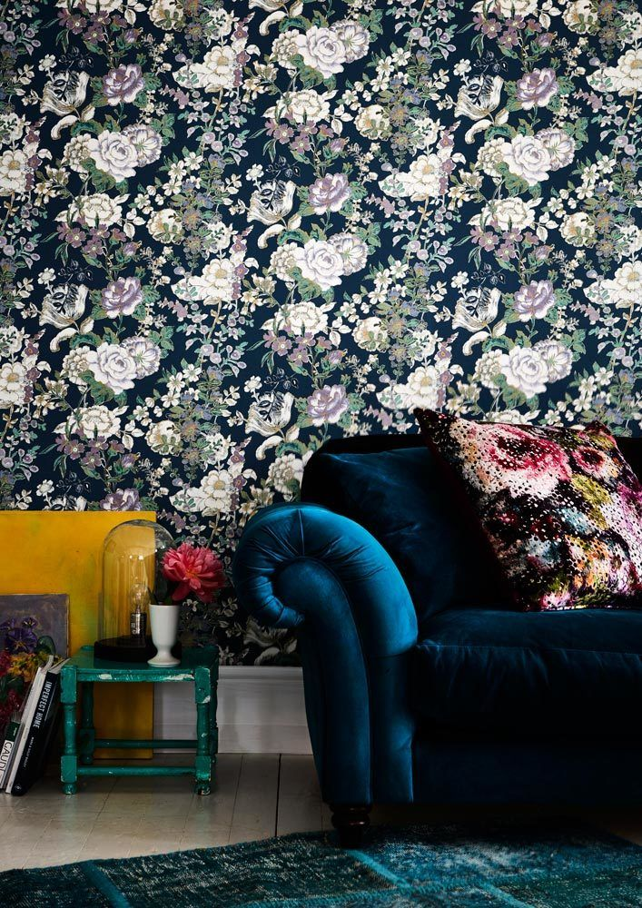 Blue Floral Wallpaper And Dark Velvet Sofa Other Living Room Decorating Ideas From Redonlinecouk