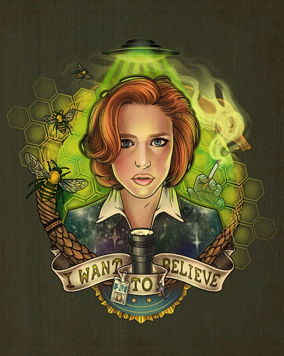 """I Want To Believe"" signed mini print  8x10 by MeganLaraArt on Etsy #XFiles #AgentScully"