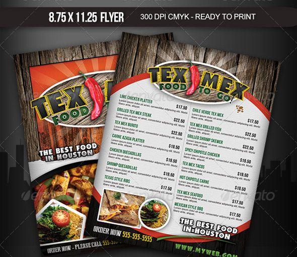 Tex Mex Menu Flyer  Front Page Menu Research    Tex