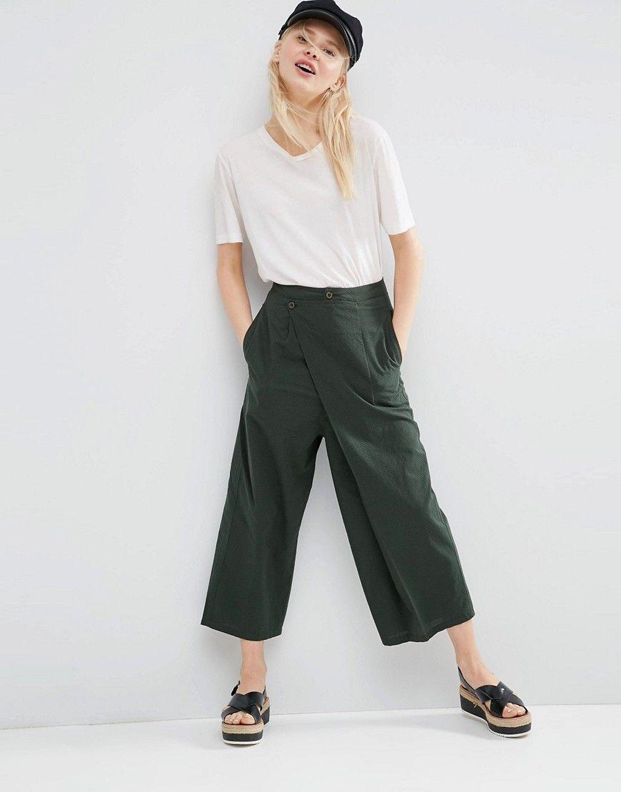 Womens Wide Leg Textured Culottes