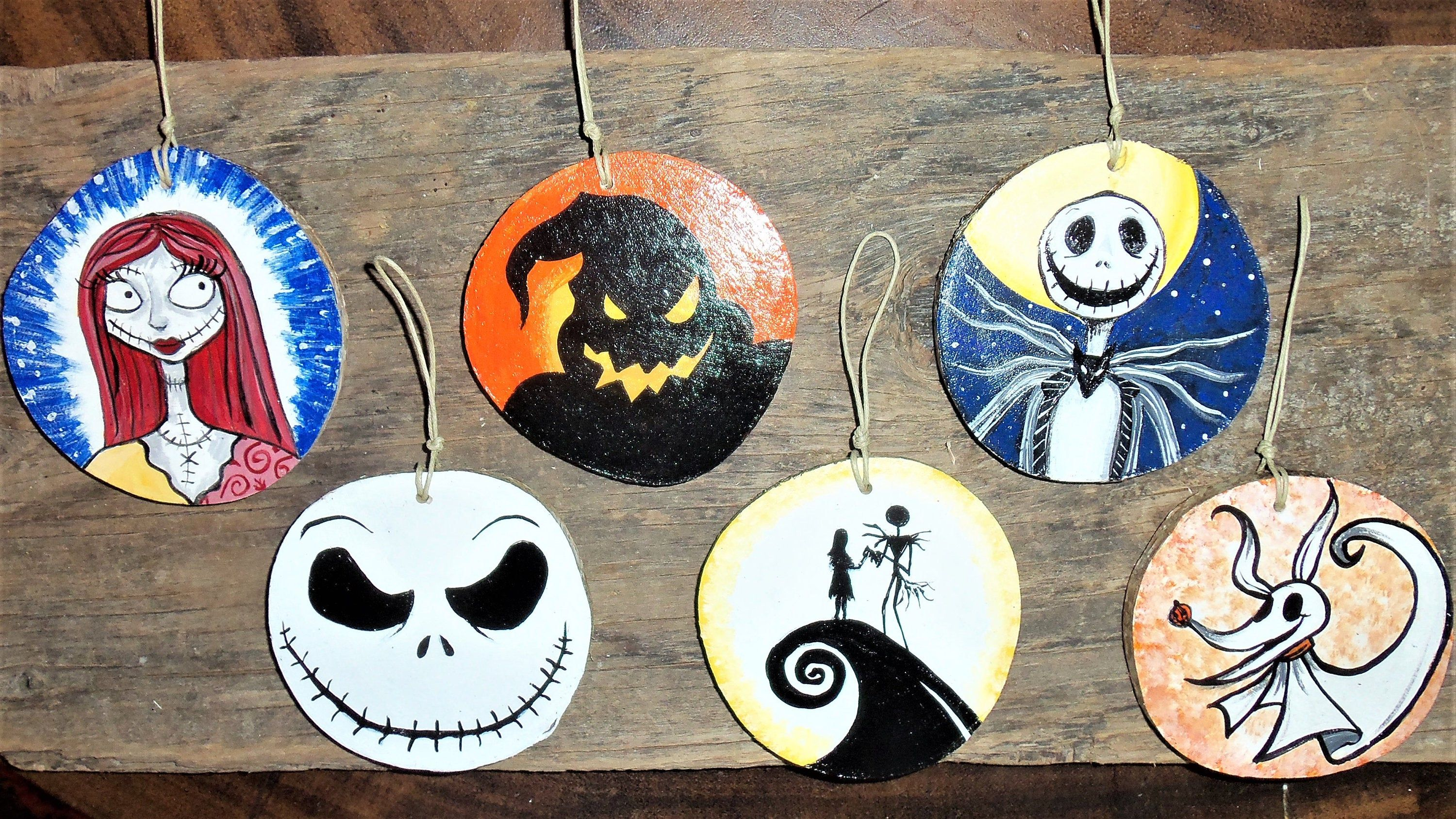 Set Of 6 Nightmare Before Christmas Ornaments Hand Painted Wood S Nightmare Before Christmas Ornaments Wood Christmas Ornaments Jack Nightmare Before Christmas