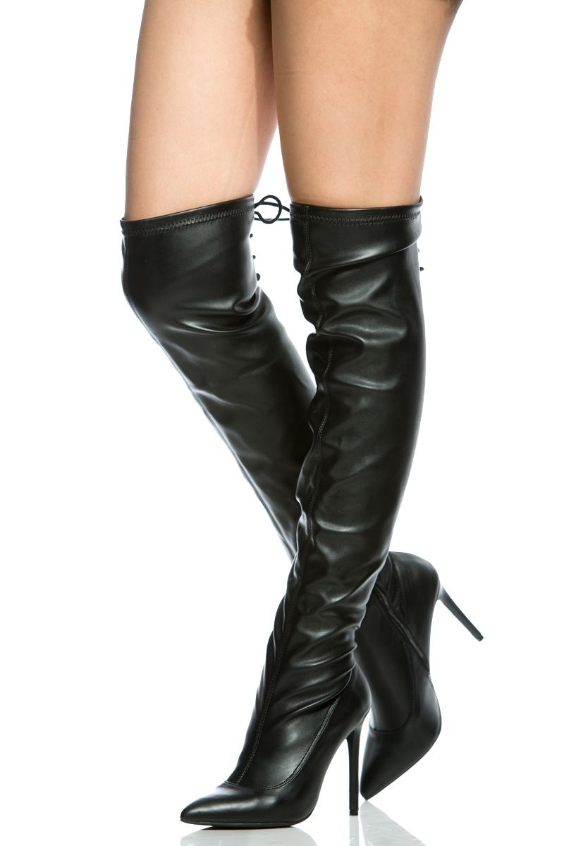 Black Faux Leather Over the Knee Pointed Toe Boots @ Cicihot Boots Catalog:women's winter boots,leather thigh high boots,black platform knee high boots,over the knee boots,Go Go boots,cowgirl boots,gladiator boots,womens dress boots,skirt boots.
