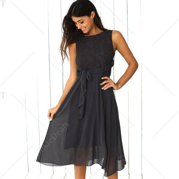 Sleeveless Lace Splicing Dress