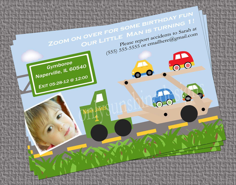 Gmail birthday theme - Car Carrier Truck Birthday Theme Digital Invitation With 1 Photo 12 00 Via Etsy
