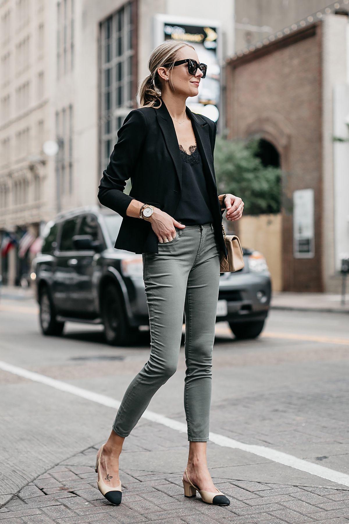 1160f32242 Fashion Jackson Black Lace Cami Black Blazer Frame Olive Green Jeans Chanel  Slingbacks Chanel Tan Handbag 2