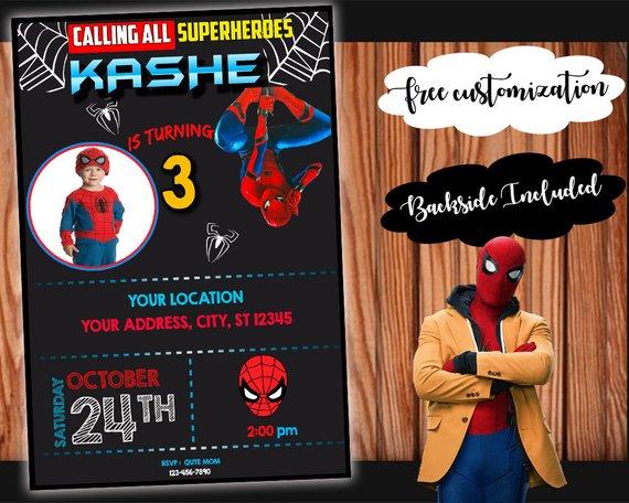 Spiderman Birthday Party Invitation Printable Customizable Digital Card Spid